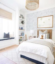 what a cute little kid's room! Love the printed wallpaper, large rattan drum shade and textured linens ->> Alderman Co. Interior Design <<-