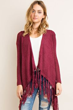 Wine Fringe Cardigan Jacket - Sm to Lg Available at #mooresville & #statesville ~ Mon/Tues Specials ~ * Clothing: 30% off * Name Brands 20% off
