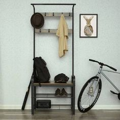 VASAGLE Industrial Coat Rack Shoe Bench, Hall Tree Entryway Storage Shelf, Wood Look Accent Furniture with Metal Frame, 3 in 1 Design, Easy Assembly Wood Storage Bench, Entryway Storage, Shoe Storage, Storage Boxes, Storage Shelves, Storage Ideas, Entry Organization, Coat Rack Shoe Bench, Coat And Shoe Rack