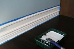 easy and cheap way to get larger baseboards! Can't wait to do this in our house somewhere because I LOVE thick baseboards! Easy Diy Projects, Home Projects, Decorating On A Budget, Interior Decorating, Decorating Blogs, Interior Design, Home Renovation, Home Remodeling, Diy Décoration