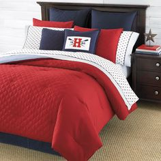 Tommy Hilfiger Hilfiger Prep Red Bedding Collection from Beddingstyle.com