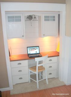 Desk Built Into Closet 25 clever closet offices | closet office, white closet and office