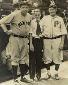 Babe Ruth & Honus Wagner pose with a young fan. (Not Sure of the year, mid-20s I suppose)