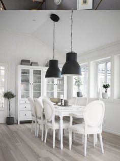 Design Ideas Single Pendant Light Over Dining Table Interior Design - single pendant light over dining table Home Design Planning Ikea HEKTAR large pendant lamps and Hemnes glass door Design Ideas Hektar Ikea, Black And White Interior, Black White, Style At Home, Home And Deco, White Houses, Hemnes, Dining Room Design, Home Living Room