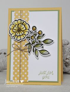 handmade greeting card by Janneke Just for You ... for challenge #GDP082 .. creamy yellow ... flowers over a column ... Stampin' Up!
