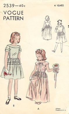Vintage 1940s Formal or Flower Girl Dress for by daisyepochvintage