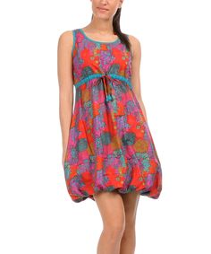 Another great find on #zulily! chaitanya Violet & Red Floral Bubble Dress by chaitanya #zulilyfinds