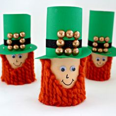 Using paper towel tubes or  toilet paper tubes, make this handsome Leprechaun.