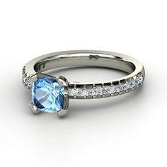 Cushion Blue Topaz 14K White Gold Ring with Diamond   Eliza Ring   Gemvara
