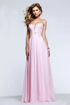 Faviana - s7522 Beaded Strapless A Line Long Gown in Pink