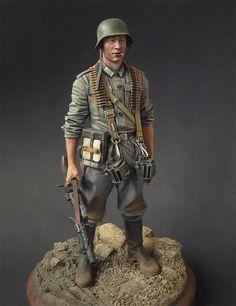 WWII, Wermacht machine gunner toy soldier.