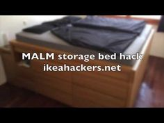 This is one heck of an IKEA hack. Stefan made a storage bed, wait it's a bed with massive amounts of storage bed out of 2 MALM bed, 4 MALM chest of drawers, 2 nightstands and 1 headboard. First, he designed the bed in and this was his initial plan. Ikea Bed Hack, Bed Ikea, Ikea Malm, Ikea Bedroom Storage, Diy Storage Bed, Kallax, Malm Bed, Floating Bed, Ikea Hackers