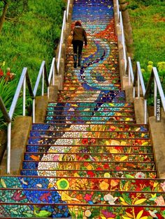 Funny pictures about Tiled Stairs In San Francisco. Oh, and cool pics about Tiled Stairs In San Francisco. Also, Tiled Stairs In San Francisco photos. Oh The Places You'll Go, Places To Travel, Places To Visit, Travel Destinations, Mosaic Stairs, Tiled Staircase, Staircase Design, Staircase Painting, Decorating Staircase