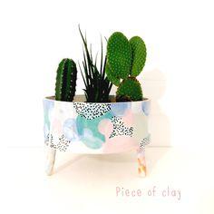 Piece of clay Ceramic Planters, Ceramic Mugs, Ceramic Pottery, Ceramic Art, Pottery Painting, Ceramic Painting, Quirky Homeware, Cactus Plant Pots, Sculpey Clay