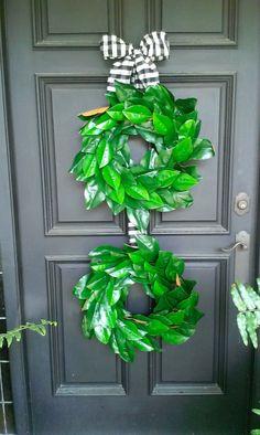 Double Magnolia Wreath by Bonnieharmsdesigns on Etsy, $98.00