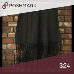 Cashmere scarf with suede fringe Black cashmere scarf with suede fringe. Good condition. Accessories Scarves & Wraps