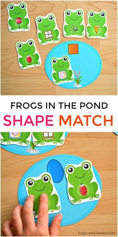 This Fun Printable Shape Match activity will help you kids see and identify shapes in everyday objects! Frog Activities, Art Activities For Toddlers, Printable Activities For Kids, Shape Activities, Learning Activities, Frogs Preschool, Preschool Crafts, Preschool Shapes, Frog Theme Classroom