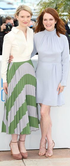Julianne Moore and Mia Wasikowska at the Maps to the Stars photocall. #Cannes2014