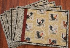 Rooster Quilted Place Mats Set of 4 by susiquilts on Etsy, $40.00