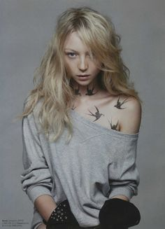this girl is just SO beautiful, not a big fan of the tattoo though. [bird tattoo]