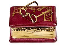 "Red Book & Glasses Limoges trinket box, 1.5"" high"