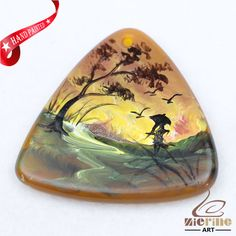 Hand Painted Scenery Agate Slice Gemstone Necklace Pendant Jewlery D1708 1177 #ZL #Pendant