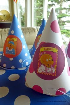 Party Hats featuring Mama and Sister Bear.  Berenstain Bears Birthday Party | a constant project
