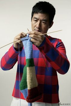 Chinese actor Guo Xiaodong in deep concentration.