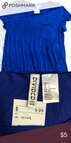 H&M Blue T-shirt Sorry, for the wrinkles. Size: Large. Brand new, with tags. Never worn. H&M Tops Tees - Short Sleeve