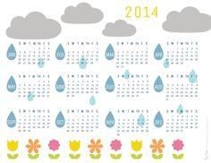 HAPPY NEW YEAR FOLLOWERS! FREE PRINTABLE 2014 Rain Clouds Calendar
