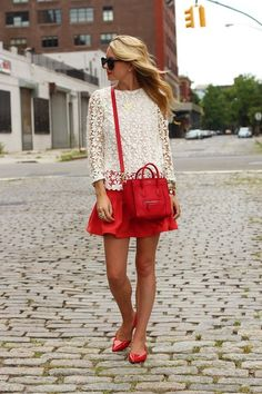 White lace + red #skirt #bag