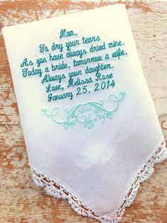 Embroidered Wedding Handkerchief Monogrammed custom handkerchiefs mom wedding handkerchief by HeirloomWeddings Wedding Gifts For Bride, Wedding Thank You, Bride Gifts, Fall Wedding, August Wedding, Wedding Ideas, Hawaii Wedding, Wedding Ceremony, Wedding Planning