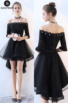 Shop Off Shoulder High Low Homecoming Dress Tulle with Sleeves online. SheProm offers formal, party, casual & more style dresses to fit your special occasions.This is such a cute and stylish dress it's awesome I wish I had it Trendy Dresses, Cute Dresses, Beautiful Dresses, Short Dresses, Formal Dresses, Cheap Dresses, Tulle Dress, Dress Up, Dress Outfits