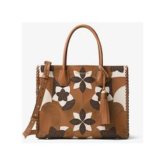 Michael Kors Studio Mercer Large Floral Patchwork Leather Tote (£295) ❤ liked on Polyvore featuring bags, handbags, tote bags, brown, genuine leather tote, tote handbags, brown tote, floral tote bag and handbags totes