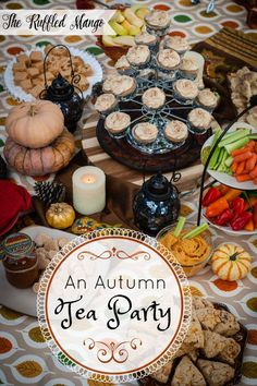 Autumn Tea Party Spring and summer tea parties are marvelous, but an autumn tea party has a sort of special magic about it.Spring and summer tea parties are marvelous, but an autumn tea party has a sort of special magic about it. Afternoon Tea Recipes, Afternoon Tea Parties, Fall Tea Parties, Summer Parties, Oolong Tee, Tea Party Sandwiches, Finger Sandwiches, Autumn Tea, Tea Party Theme