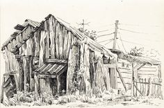 "Saatchi Online Artist: Olga Lisina; Pen and Ink, 2011, Drawing ""The old house in a village"""