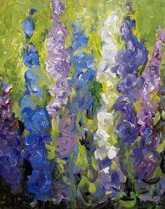 Mona Vivar Blue Delphinium Flower Abstract Impasto Original Impressionist Art #Impressionism
