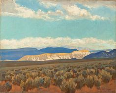 MAYNARD DIXON (American, 1875-1946). Calico Hills (Virgin Valley, Nevada; No. 350), 1927 o/c,  16x20-1/4""