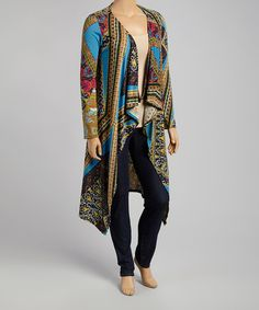 Another great find on #zulily! Teal & Yellow Abstract Cardigan - Plus by CANARI #zulilyfinds