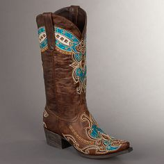 - Brown distressed leather with cross-stitched embroidered design - Shaft Height: Classic - - Heel Height: Low (about - Toe Design: Classic Snip Toe Cowgirl Chic, Cowgirl Style, Cowgirl Boots, Western Boots, Women's Boots, Mode Country, Country Boots, Boot Scootin Boogie, Over Boots