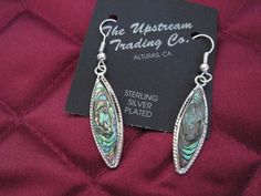 Hand Crafted Taxco, Mexico Abalone Silver Plated Tear Drop Design Earrings