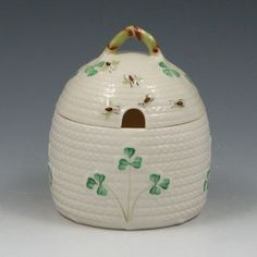 I'm going to find one of these some day. Belleek Shamrock Honey Pot