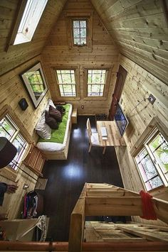 vaulted ceiling tiny house interior