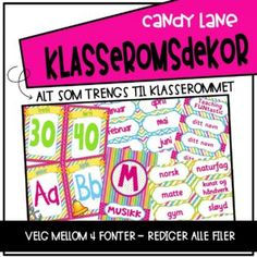 Ordklasser - plakater - Teaching Funtastic Lime, Candy, Teaching, Education, Digital, Grammar, Lima, Sweets, Limes