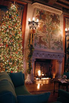 The Tapestry Gallery, at Biltmore House. Details of the beautiful fireplace, that has a painted limestone hood, and is decorated for Christmas.  Biltmore, an original American Gilded Age residential mansion, of George Washington Vanderbilt 11, and wife Edith Dresser Vanderbilt, was first opened  to guests on Christmas Eve, c.1895. American architect: Richard Morris Hunt, constructed from, (1889-1895). The mansion is now a public museum, in Asheville, NC. ~ {cwlyons} ~ (image: Romantic…