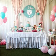 Kitten Party, Cat Party, Kitty Party Themes, Birthday Celebration, Birthday Parties, Fiesta Baby Shower, Cat Birthday, Ideas Para Fiestas, Backdrops For Parties