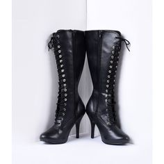 Black Vegan Leather Lace Up Knee High Stiletto Boots ($78) ❤ liked on Polyvore featuring shoes, boots, black, high heel boots, black high heel boots, black platform boots, knee high heel boots and black stiletto boots