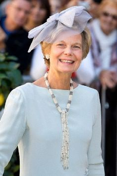 Archduchess Marie Astrid of Austria hat details during the wedding of her nephew Prince Felix of Luxembourg on 21 Sep 2013 in France