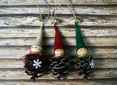 Set of 3 Pinecone Elf Christmas Ornaments by PerrysHandmade Christmas Elf, Christmas Ornaments, Pinecone, Holiday Decor, Unique Jewelry, Handmade Gifts, Etsy, Vintage, Kid Craft Gifts
