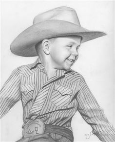 Hand Drawn Pencil Sketch from Photos---A super cute way to keep a portrait of him in that adorable cowboy costume hanging right above the mantle.